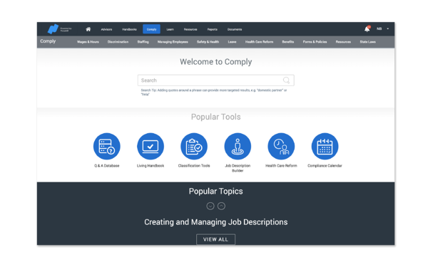 The Namely Comply compliance resources homepage