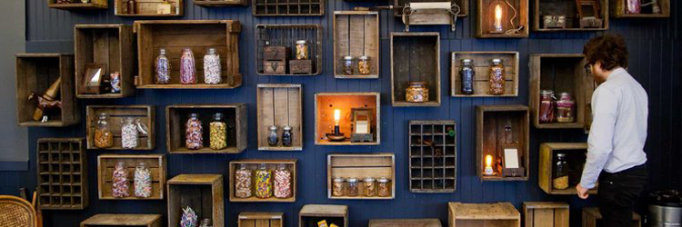 Fueled's vintage-inspired office design and candy wall