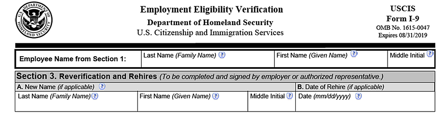 Pictured: Section 3 of the Form I-9