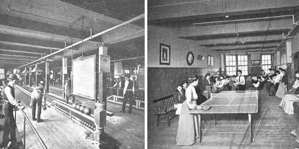 Pictured: One company at the 1904 conference shared that it had built a bowling alley and game room for employees.