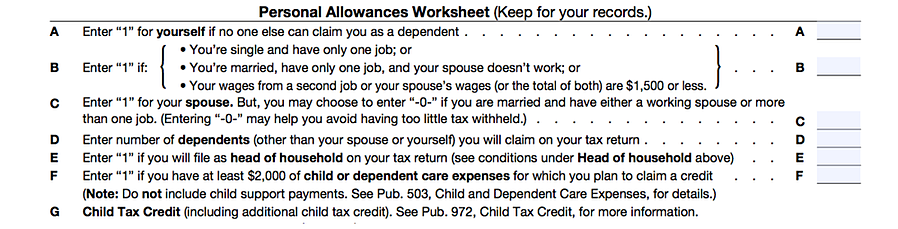 Pictured: Personal Allowances Worksheet on the Form W-4