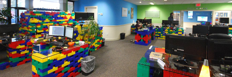 Lego standing desks at Miles Technology