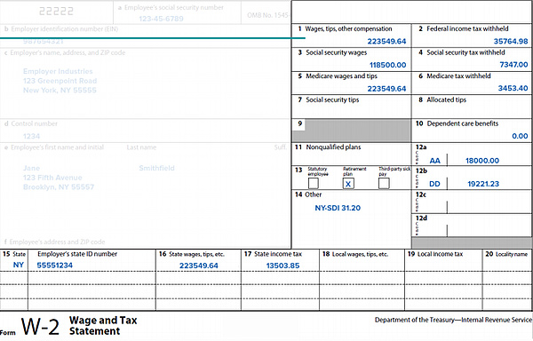 Boxes 1 to 20 on the Form W-2
