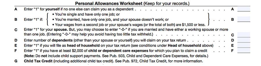 Personal Allowances Worksheet on the Form W-4
