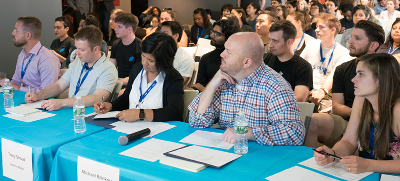 Hackathon Judges, from left to right: Jonathan Pecora, Communication Service for the Deaf (CSD); Marty Brown, Sysomos; Tracy Stroud, Rubicon Global; Michael Brinkman, Schoology; Katie Ryan, Oscar Health