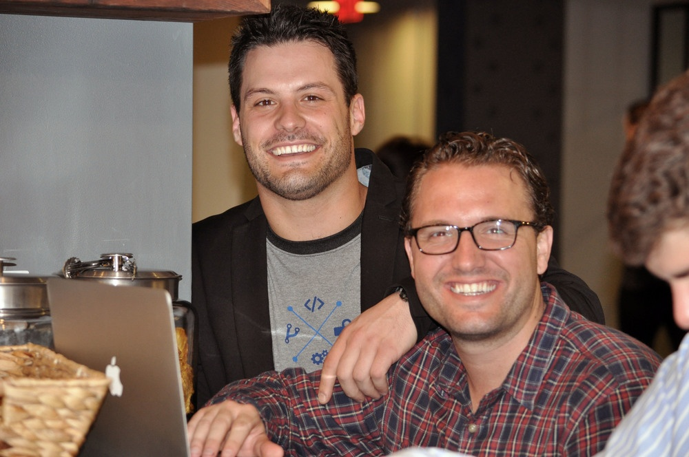 Alex Boyovich, account executive, and Michael Manne, VP, Sales, ready for some hackathon action.