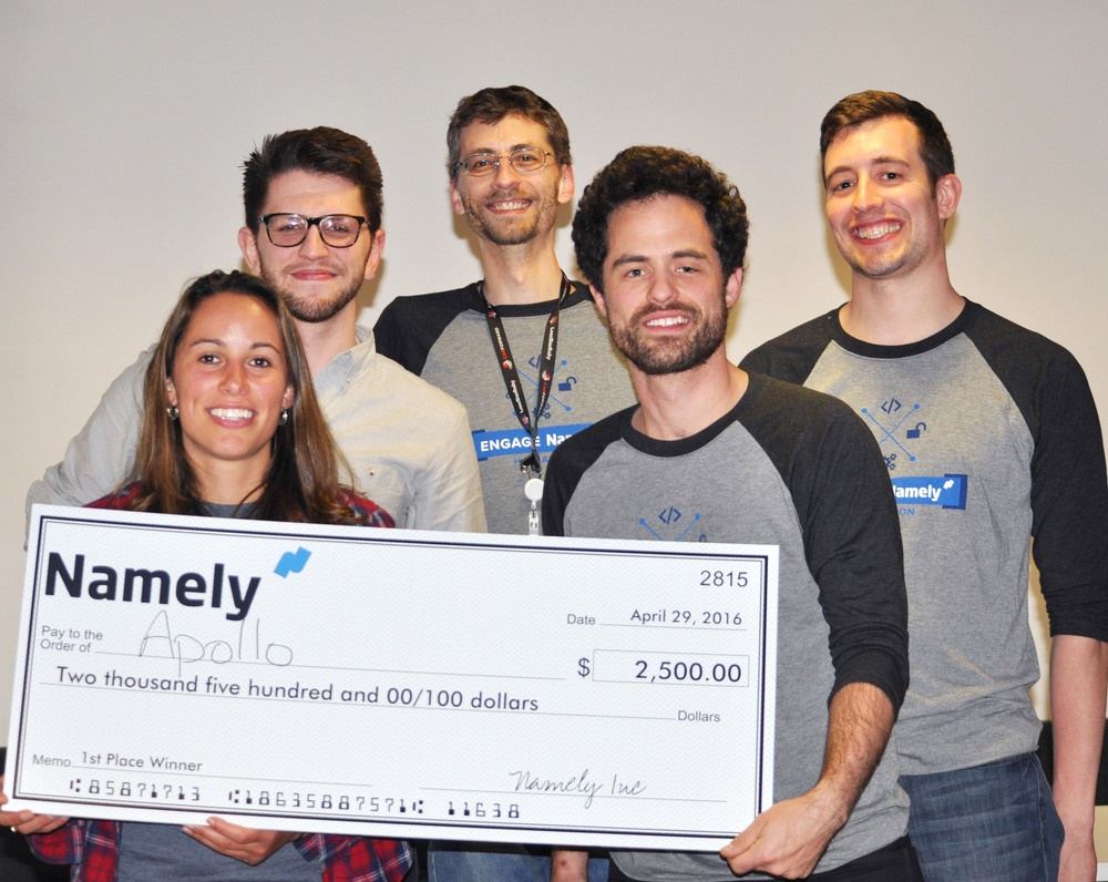 The Project Apollo team accepting their 1st place award.