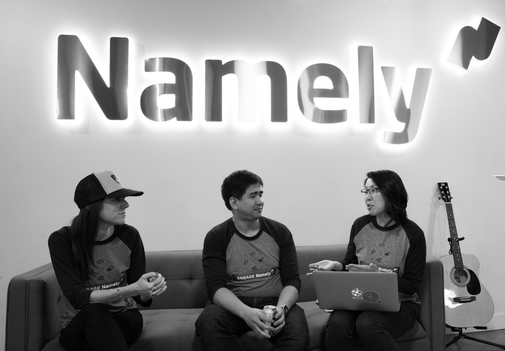 Hackathon planning in progress in the Namely office.